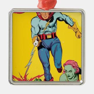 El super héroe del relámpago lucha un dragón para adorno navideño cuadrado de metal