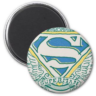 El superhombre bosquejó el escudo imanes de nevera