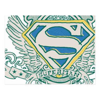 El superhombre bosquejó el escudo postales