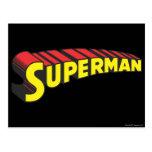 El superhombre pone letras a amarillo/a rojo postal