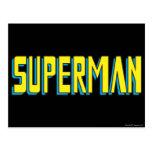 El superhombre pone letras a amarillo/al azul postal