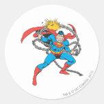 El superhombre rompe las cadenas 3 pegatina redonda