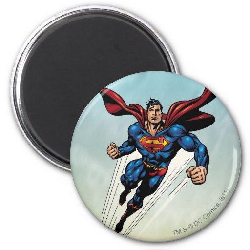 El superhombre salta hacia arriba iman de frigorífico