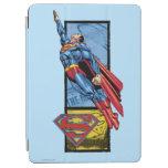 El superhombre salta para arriba con el logotipo cover de iPad air