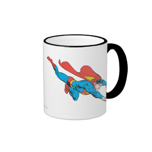 El superhombre se zambulle a la derecha tazas de café
