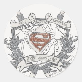 El superhombre Stylized el logotipo apacible del Pegatina Redonda