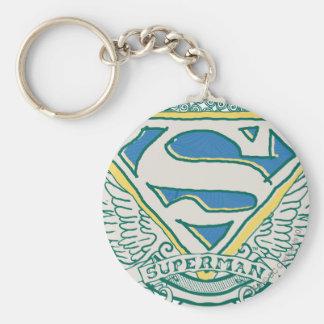 El superhombre Stylized el logotipo bosquejado el Llavero Redondo Tipo Pin