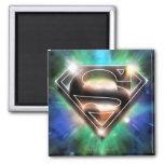 El superhombre Stylized el logotipo brillante de Imán Cuadrado