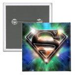 El superhombre Stylized el logotipo brillante de Pin Cuadrado