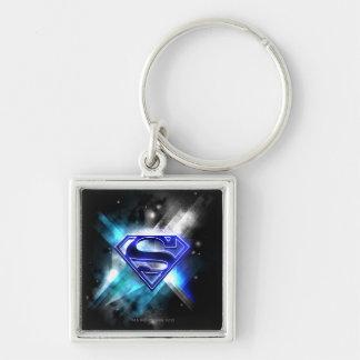 El superhombre Stylized el logotipo cristalino Llavero Cuadrado Plateado