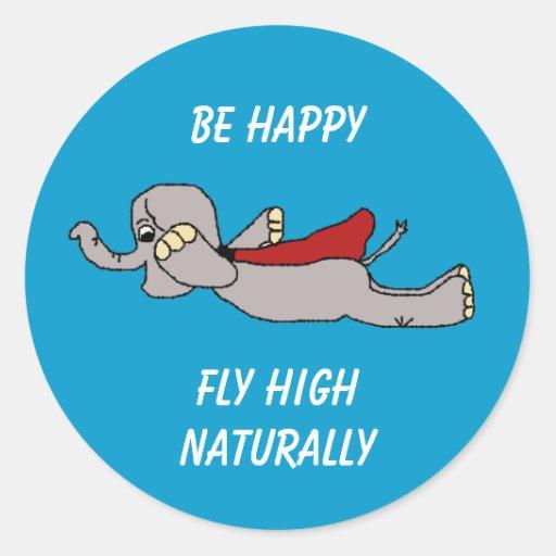 el superjumbo, sea feliz, mosca alta naturalmente pegatina redonda