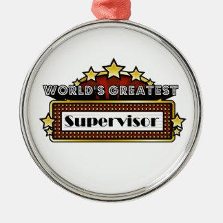 El supervisor más grande del mundo adorno navideño redondo de metal