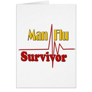 El superviviente de la gripe del hombre consigue tarjeta de felicitación