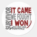 El superviviente del cáncer de cabeza y cuello que etiquetas redondas