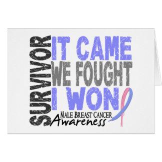 El superviviente masculino del cáncer de pecho que tarjetas