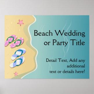 El suyo/el suyo flips-flopes en el boda de playa póster