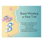 El suyo/el suyo flips-flopes en la playa tarjeta publicitaria