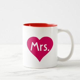 El suyo señora Mug en corazón rojo - Sr. y señora  Taza De Café