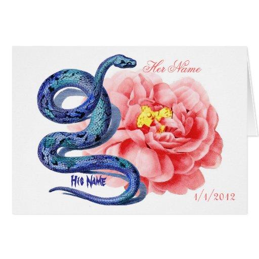 El suyo su rosa de la serpiente personaliza el tarjeta de felicitación