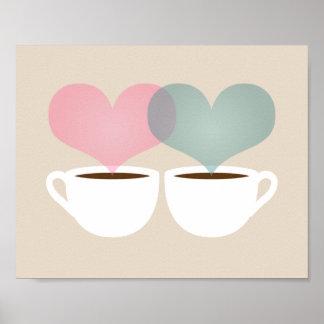 El suyo y el mío tazas de café en la impresión del posters