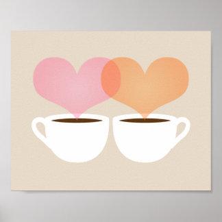 El suyo y el mío tazas de café en la impresión del póster