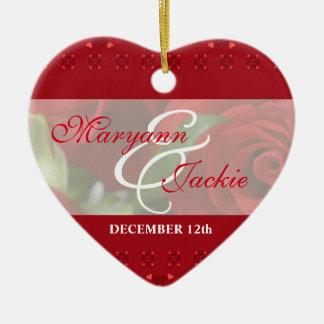 El suyo y el suyo 1r ornamento del rojo del adorno navideño de cerámica en forma de corazón