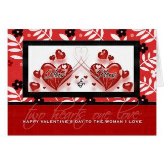 El suyo y el suyo corazones rojos de Valenine el | Tarjeta De Felicitación