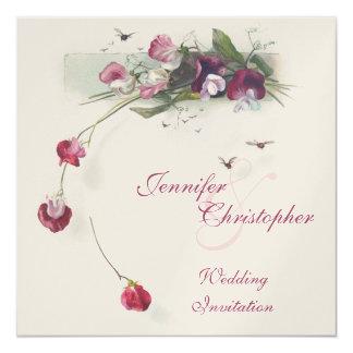 El sweetpea púrpura rosado florece la invitación