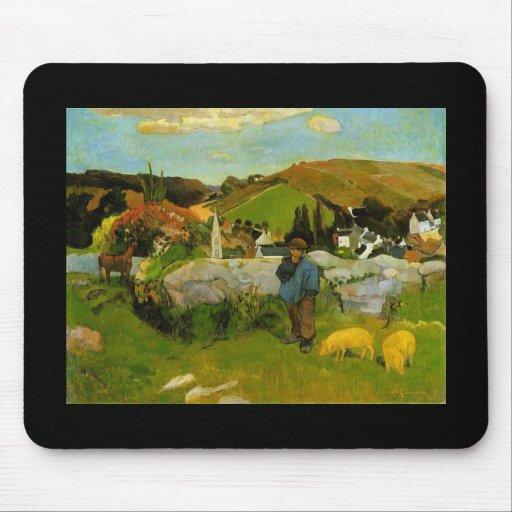 El Swineherd, Bretaña de Paul Gauguin Tapetes De Raton