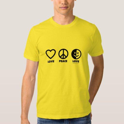 El T de los hombres del amor de la paz del amor Playera