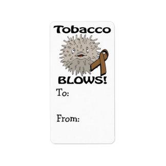 El tabaco sopla diseño de la conciencia etiqueta de dirección