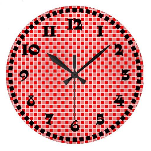 El tablero de damas ajusta el rojo negro blanco de reloj redondo grande