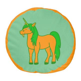 El taburete anaranjado del unicornio embroma la puf redondo