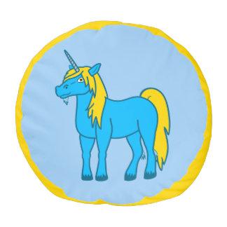 El taburete azul del unicornio embroma la silla puf redondo