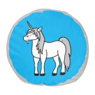 El taburete blanco del unicornio embroma la silla puf redondo