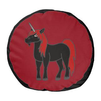 El taburete negro del unicornio embroma la silla puf redondo
