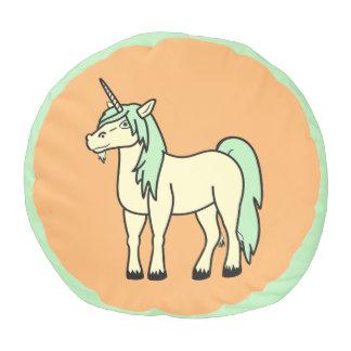 El taburete verde del unicornio del bebé embroma puf redondo