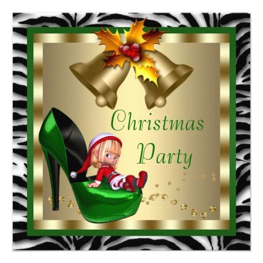 El tacón alto calza la fiesta de Navidad verde de  Invitación