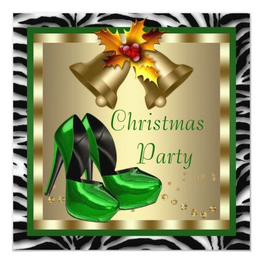 """El tacón alto calza la fiesta de Navidad verde de Invitación 5.25"""" X 5.25"""""""