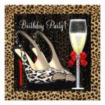 El tacón alto de Champán calza cumpleaños del leop Anuncios