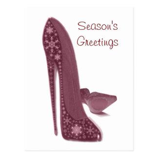 El tacón alto del estilete del navidad calza arte postal