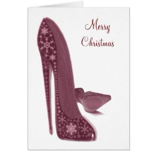 El tacón alto del estilete del navidad calza arte tarjeta de felicitación