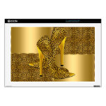 El tacón alto elegante del leopardo del oro calza  calcomanías para 43,2cm portátiles