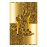 El tacón alto elegante del leopardo del oro calza  papelería personalizada