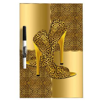 El tacón alto elegante del leopardo del oro calza  pizarras blancas de calidad