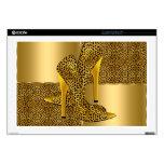 El tacón alto elegante del leopardo del oro calza  portátil calcomanías