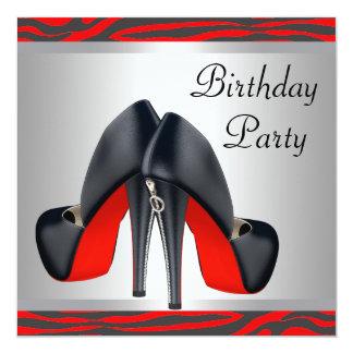 """El tacón alto rojo calza a la fiesta de cumpleaños invitación 5.25"""" x 5.25"""""""