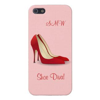 El tacón alto rojo de los estiletes bombea inicial iPhone 5 cárcasa