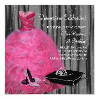 El tacón alto rosado del vestido calza las rosas invitación 13,3 cm x 13,3cm