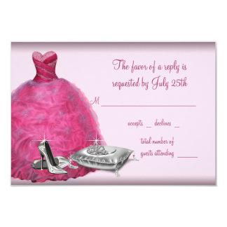 El tacón alto rosado del vestido de bola calza invitación 8,9 x 12,7 cm